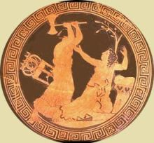 Clytaemnestra with an axe is murdering Cassandra
