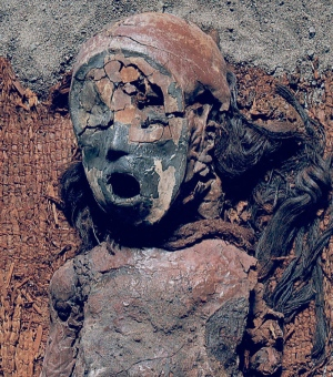 A 4,500-year-old Chinchorro mummy. Via Nature and B. Arriaza