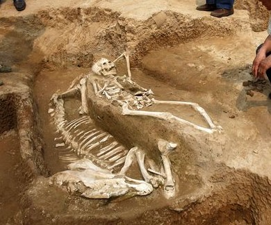 Human and Horse Burial from Bronze Age China