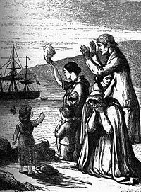 Doyle Engraving of Irish Immigration during the Famine, via Wikipedia