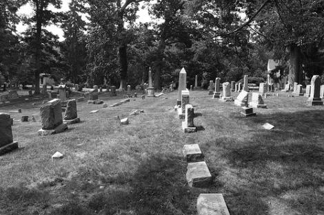 Maryland Cemetery showing variety of marker types, via Clearly Ambiguous