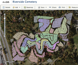 Screenshot of the Riverside Cemetery GIS