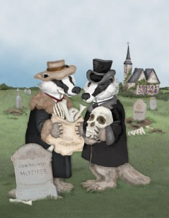 Badgers Behaving Badly, Amazing Illustration by Kim Harris and via Full Frog Moon