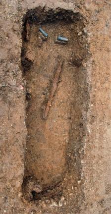 Grave of Anglo-Saxon, no remains left due to acidic soil, via CSI Anglo-Saxon