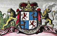 Arms of  Courland and Semigallia, from map by  Johann Barnickel, 1747, via Nat. Library of Latvija
