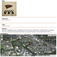 Screenshot of the OMEKA item with geolocation