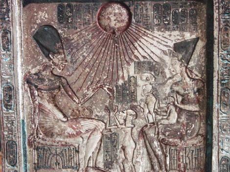 Inscription of Akhenaten and family from Amarna, via Tutincommon and Flickr