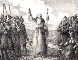 Archbishop of Hamburg-Bremen Ansgar the preaching Christianity to the heathen Swedes, via Wikimedia