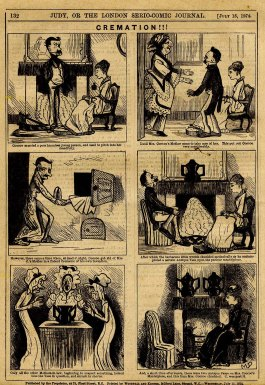 1874 comic about cremation, via Wikimedia, click to see expanded version