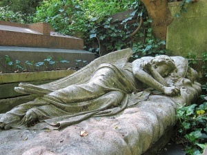 Angel Grave Cover from Highgate Cemetery, via Flickr user Alberto Garcia