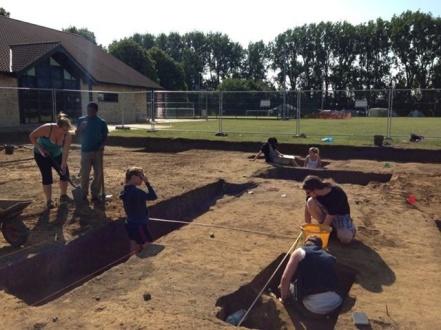 Students working at Oakington, via the Oakington Facebook page