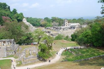 Looking south over Gran Plaza from the Temple of the Cross in Palenque, Chiapas, Mexico, via Wikimedia Commons