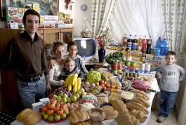 The Manzo family of Sicily. Their weekly expenditure is 214.36 Euros or $260.11, via Daily Kos Fricat and photos by Peter Menzel