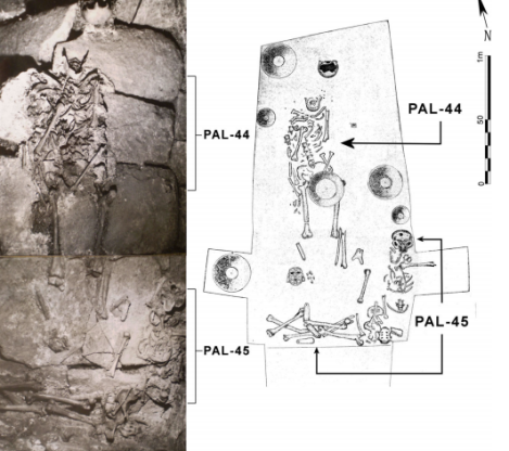 Photo and map of the burials of PAL-44 and PAL-45 in Tomb 3, via Couoh 2013
