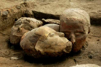 Plaster skulls from PPNB Site at Tell Aswad, via Human Past