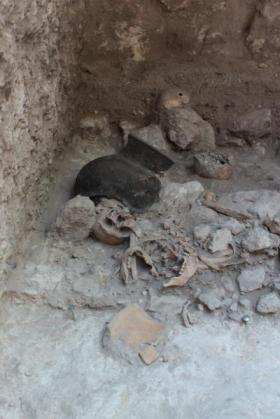 Dismembered skeletal remains from the Mayan cave, via Nicolaus Seefeld/Uni Bonn