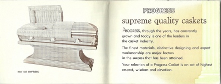 Advertisement for Progress Casket, via Ross Griff on Flickr