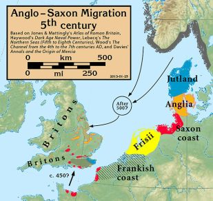 Anglo-Saxon migration map, via Wikimedia