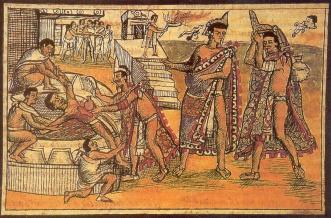 Mayan art depicting heart removal