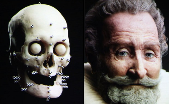 The facial reconstruction of the head of Henri IV, via Tepegraph and AFP