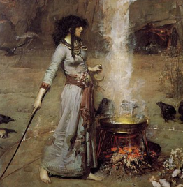 Painting of a witch by John William Waterhouse  1886, via Wikimedia Commons