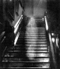 Historical image, Brown Lady Ghost photo, debunked now. Originally taken in 1936 by Captain Hubert C. Provand, via Wikimedia
