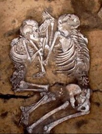Adult couple in embrace from Sibera via Siberian Times and Vyacheslav Molodin, Institute of Archeology and Ethnography of the Siberian Branch of the Russian Academy of Sciences
