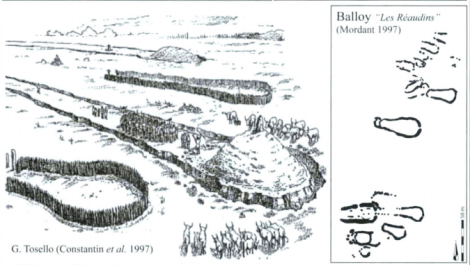 Reconstruction and plans of the Balloy barrows in Northern France, via Thomas, Chambon and Murali 2011