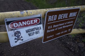 Warning signs near a cinnabar mine, via Bjørn Olson-  Ground Truth Trekking