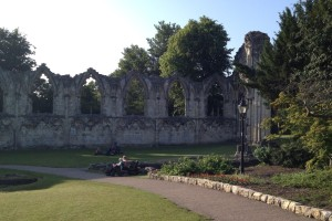 Ruins of an old chapel in York, located on the edge of a lovely park