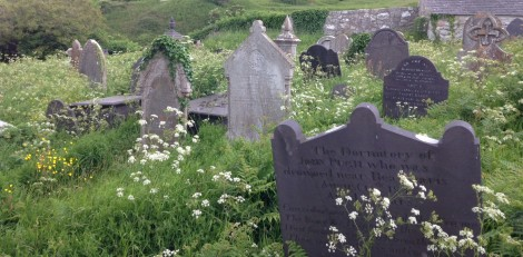 Grave markers in Penmon, note the difference between the slate and stone markers