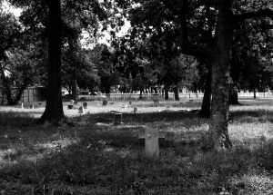 Cemetery for African Americans in Evergreen Texas, both marked and unmarked graves dating from early 1800s to early 1900s. Taken by Flickr user   Patrick Feller