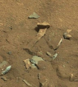 Rock found on Mars that sort of resembles a femur but not really, via CNet