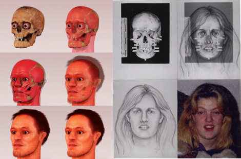 Examples of 3D and 2D facial reconstructions, via Wikipedia