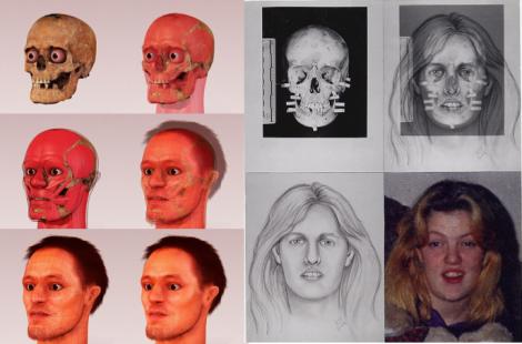 Examples of 3D and 2D facial reconstructions, via Wikipedia