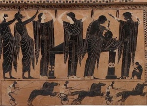 "Ancient Greek Funeral Procession, via ""A Seat at the Table"""