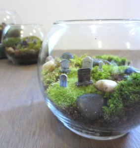 The perfect centerpiece is always the cemetery terrariums by Faerie Nest
