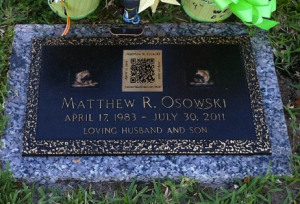 QR code on a grave marker, via the Atlantic