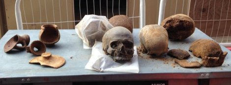 Some of the Roman skulls found while excavating the Walbrook area, not those underinvestigation, via BBC