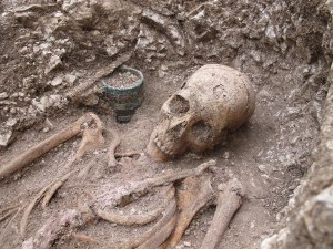 Anglo-Saxon burial found with tankard and spear, via the History Blog