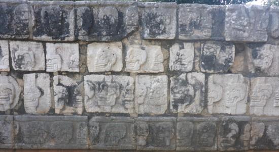 'Skull rack' or Tzompantli at Chichen Itza, taken by Katy Meyers Emery