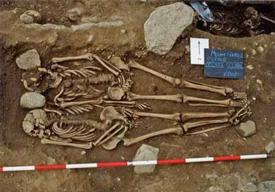 The double burial of two adult males CCLXXX and CCLXXXI dating from AD 656 to 765 from Mount Gamble, Dublin both displaying evidence of decapitation with both skulls in situ (O'Donovan and Geber 2009, 73).