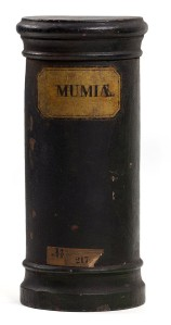 "Wooden apothecary vessel with inscription ""MUMIÆ"", via Wikimedia"