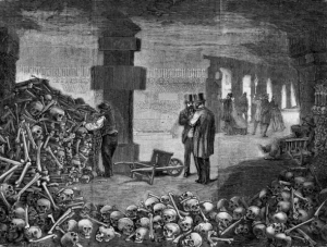 Historic art of the creation of Paris' catacombs, via Daily Hop