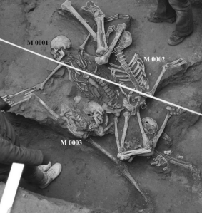 Mass grave containing the three skeletons, Figure 2 by  Constantinescu et al. (2015)