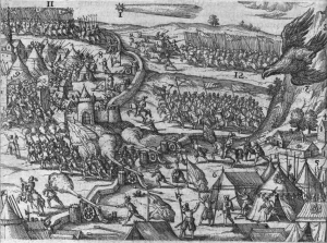 A contemporary illustration of Michael the Brave defeating the Turks at Târgovişte in October 1595, by via Wikimedia Commons