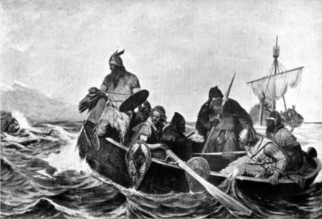 """Norsemen Landing in Iceland"" by Oscar Wergeland - Guerber, H. A. (Hélène Adeline) (1909). Myths of the Norsemen from the Eddas and Sagas. London : Harrap. This illustration is the frontispiece. Digitized by the Internet Archive and available from Wikimedia Commons"