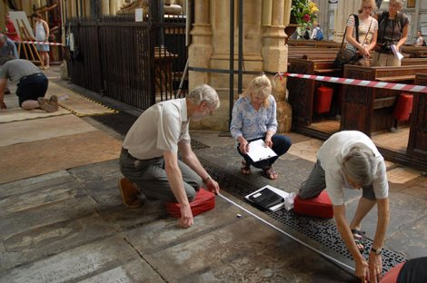 Ledgerstone cleaning and recording at Bath Abbey, via