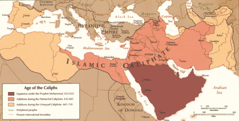 Map of the Arab Empire Expansion. From Wikimedia- By United States of America federal government - http://www.gl.iit.edu/govdocs/maps/maps.htm (archive1, archive2), Public Domain, https://commons.wikimedia.org/w/index.php?curid=1440891