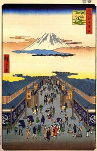 Woodcut of a street scene during the Edo period of Japan from the city of Edo, shows the common people, by Hiroshinge via Wikimedia.